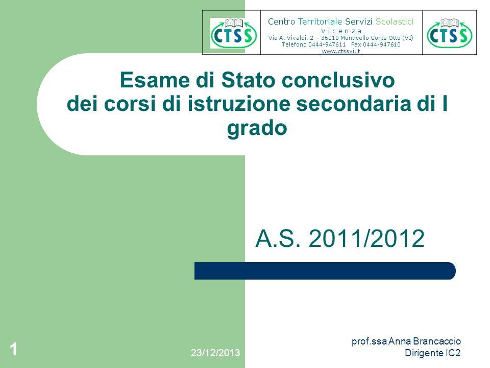 Esame di Stato conclusivo dei corsi di istruzione secondaria di I grado A.S. 2011/2012 Centro Territoriale Servizi Scolastici V i c e n z a Via A. Viv