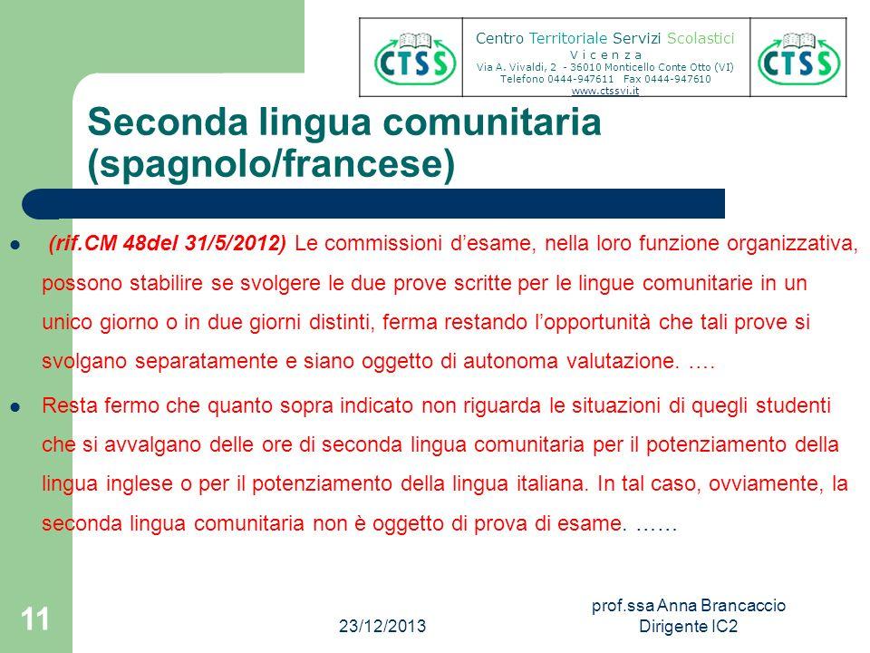Seconda lingua comunitaria (spagnolo/francese) (rif.CM 48del 31/5/2012) Le commissioni desame, nella loro funzione organizzativa, possono stabilire se