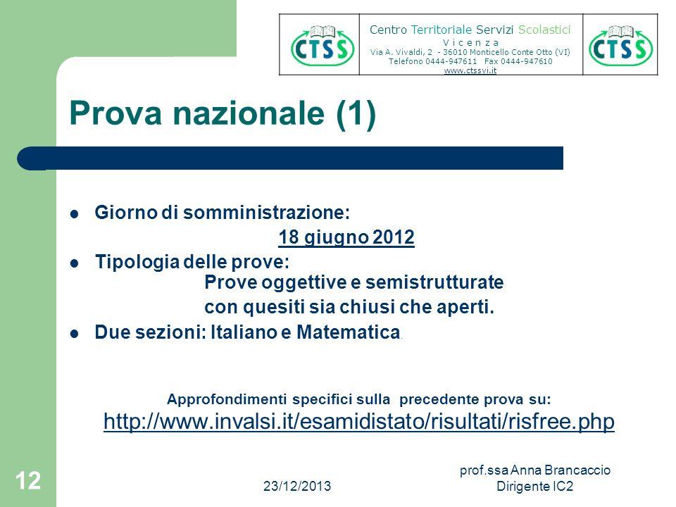 Prova nazionale (1) Giorno di somministrazione: 18 giugno 2012 Tipologia delle prove: Prove oggettive e semistrutturate con quesiti sia chiusi che ape