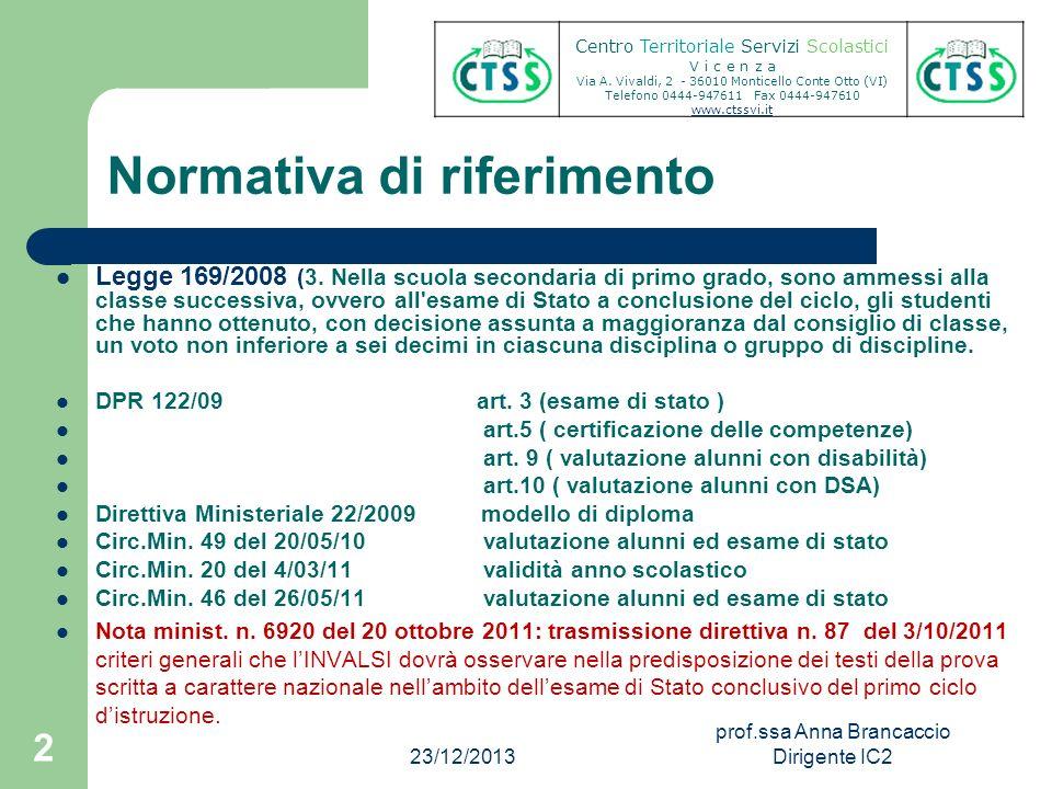 Normativa di riferimento Centro Territoriale Servizi Scolastici V i c e n z a Via A. Vivaldi, 2 - 36010 Monticello Conte Otto (VI) Telefono 0444-94761