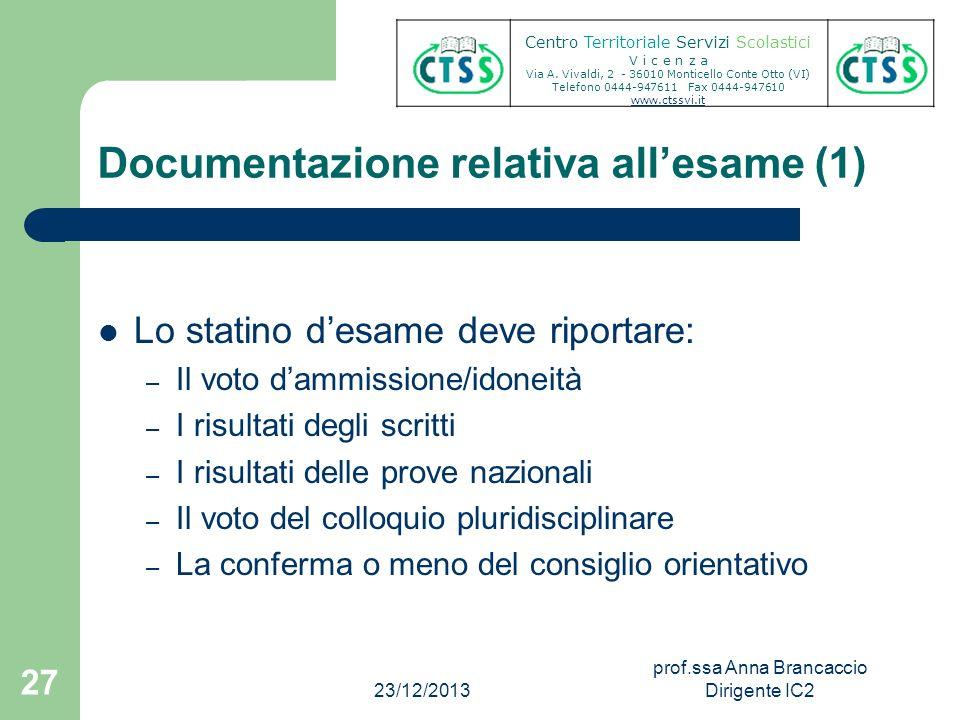 Documentazione relativa allesame (1) Lo statino desame deve riportare: – Il voto dammissione/idoneità – I risultati degli scritti – I risultati delle
