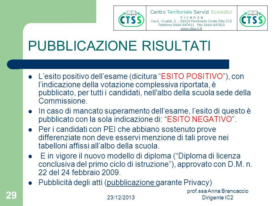 PUBBLICAZIONE RISULTATI Lesito positivo dellesame (dicitura ESITO POSITIVO), con lindicazione della votazione complessiva riportata, è pubblicato, per