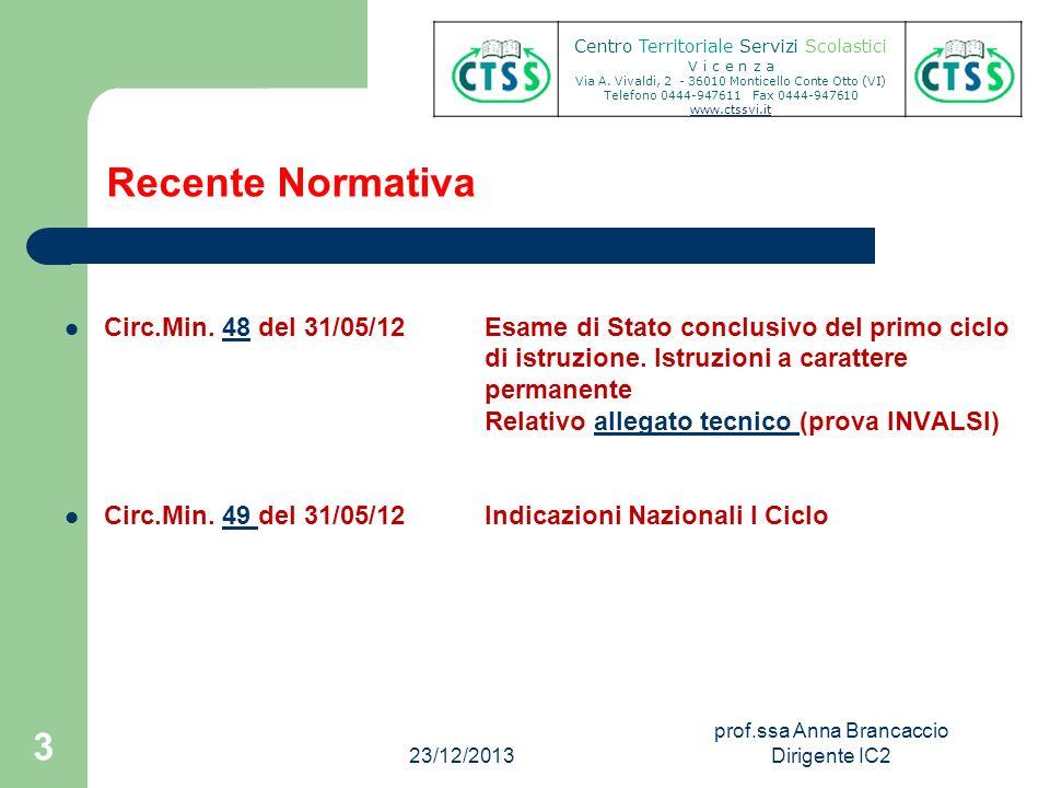 Recente Normativa Circ.Min. 48 del 31/05/12 Esame di Stato conclusivo del primo ciclo48 di istruzione. Istruzioni a carattere permanente Relativo alle