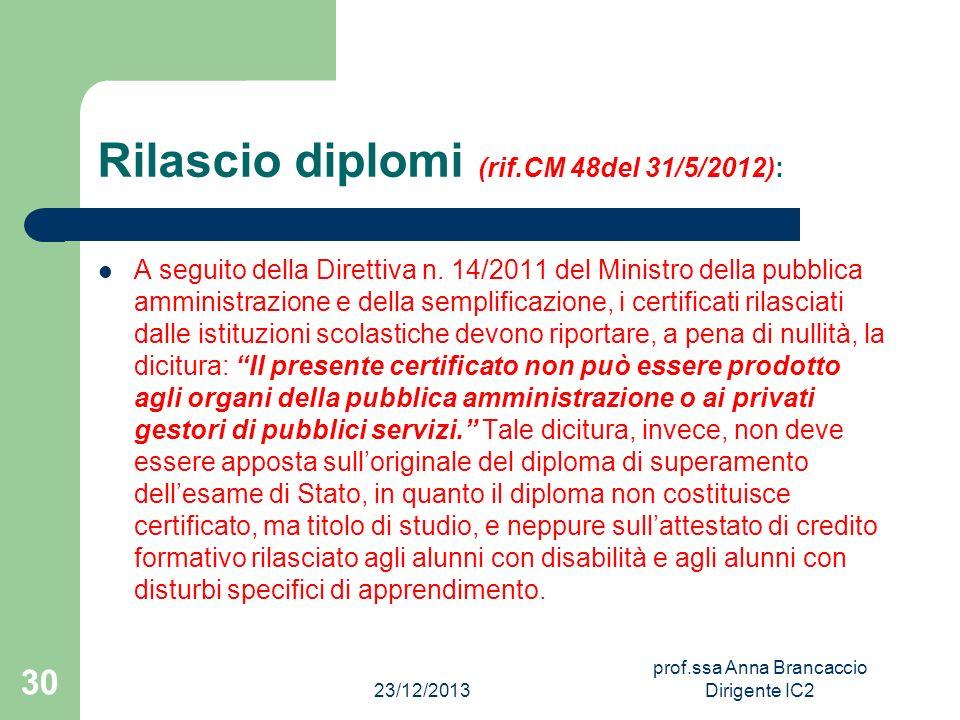 Rilascio diplomi (rif.CM 48del 31/5/2012): A seguito della Direttiva n. 14/2011 del Ministro della pubblica amministrazione e della semplificazione, i