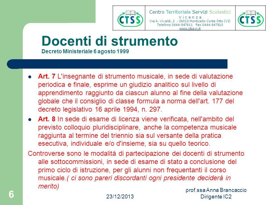 Docenti di strumento Decreto Ministeriale 6 agosto 1999 Art. 7 L'insegnante di strumento musicale, in sede di valutazione periodica e finale, esprime