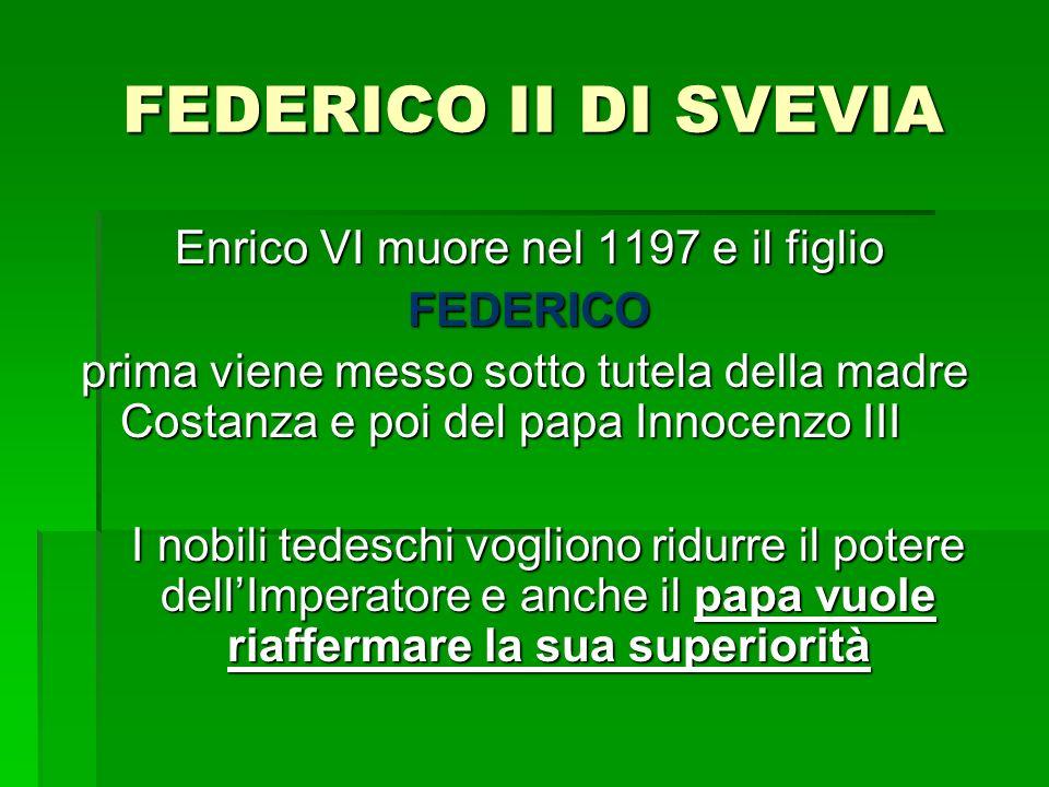 FEDERICO II DI SVEVIA Enrico VI muore nel 1197 e il figlio FEDERICO prima viene messo sotto tutela della madre Costanza e poi del papa Innocenzo III I