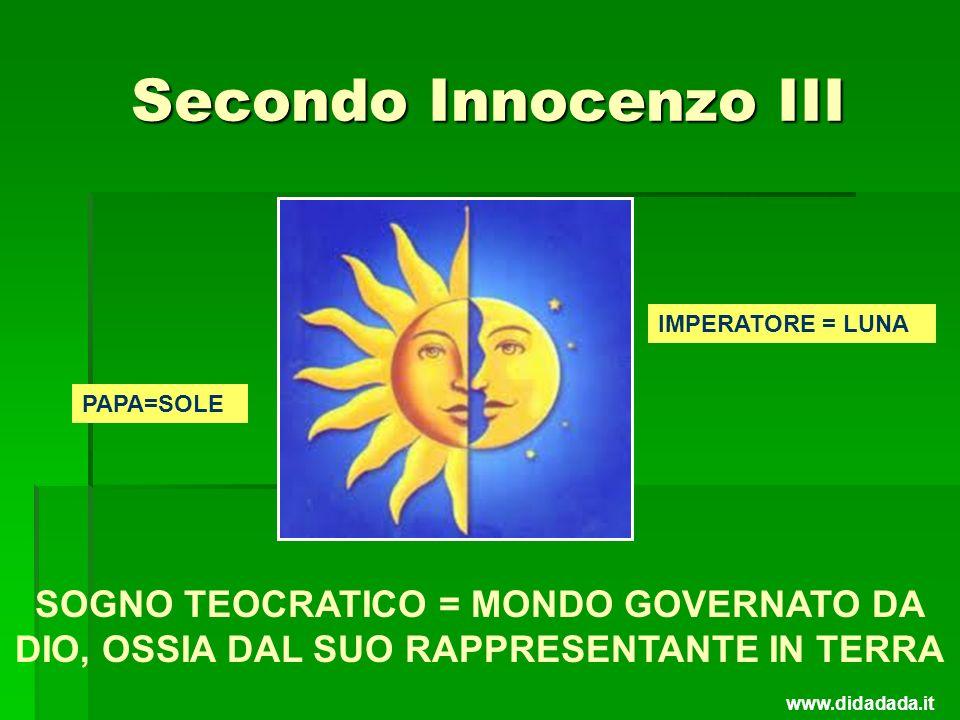 Secondo Innocenzo III PAPA=SOLE IMPERATORE = LUNA SOGNO TEOCRATICO = MONDO GOVERNATO DA DIO, OSSIA DAL SUO RAPPRESENTANTE IN TERRA www.didadada.it