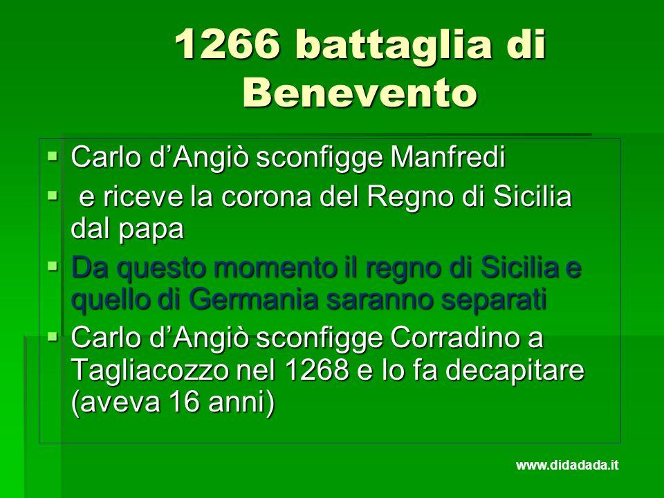 1266 battaglia di Benevento Carlo dAngiò sconfigge Manfredi Carlo dAngiò sconfigge Manfredi e riceve la corona del Regno di Sicilia dal papa e riceve