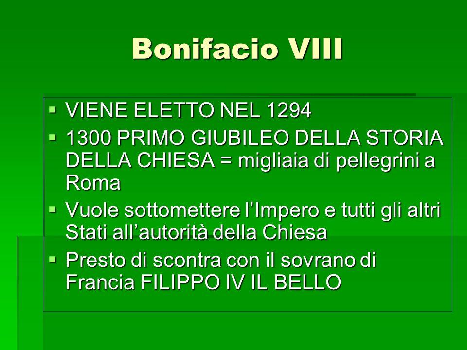 Bonifacio VIII VIENE ELETTO NEL 1294 VIENE ELETTO NEL 1294 1300 PRIMO GIUBILEO DELLA STORIA DELLA CHIESA = migliaia di pellegrini a Roma 1300 PRIMO GI