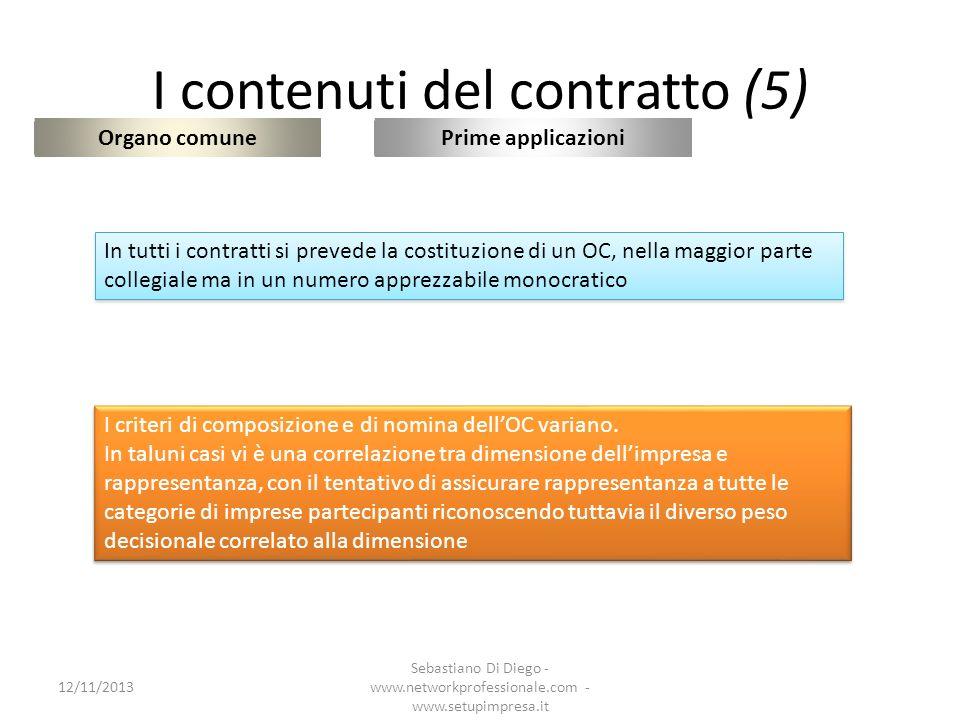 I contenuti del contratto (6) Organo comune 12/11/2013 Sebastiano Di Diego - www.networkprofessionale.com - www.setupimpresa.it Prime applicazioni In tutti i contratti si prevede la costituzione di un OC, nella maggior parte collegiale ma in un numero apprezzabile monocratico I criteri di composizione e di nomina dellOC variano.