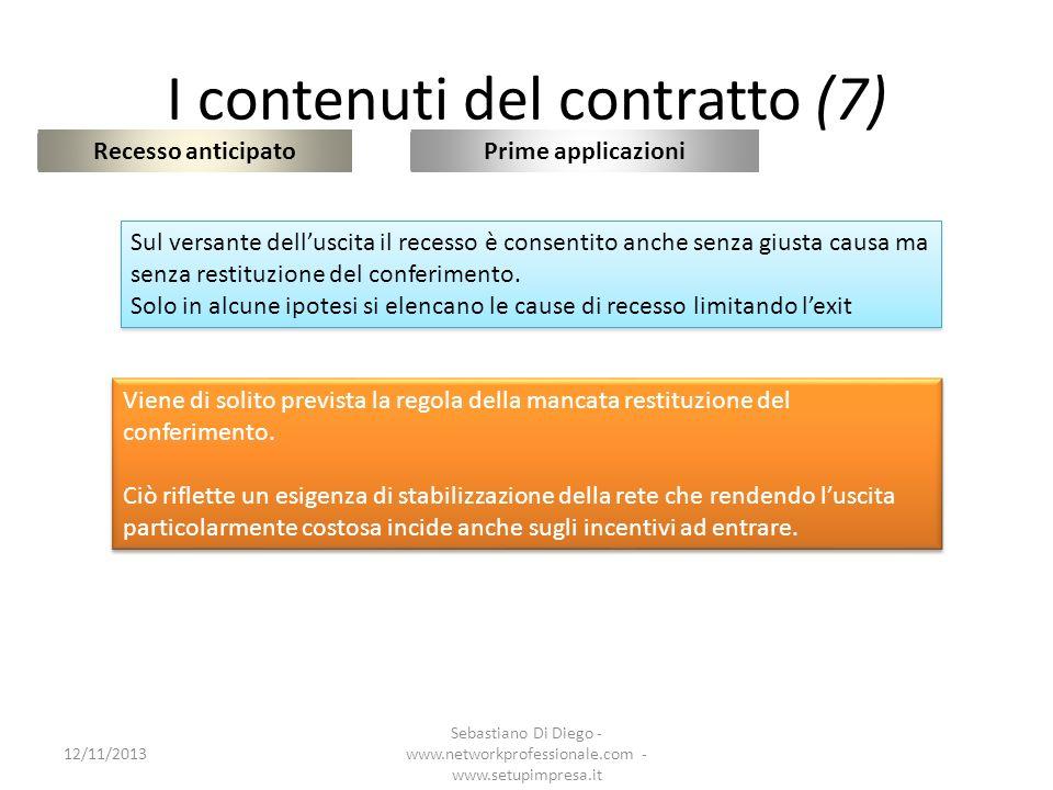 I contenuti del contratto (7) Recesso anticipato 12/11/2013 Sebastiano Di Diego - www.networkprofessionale.com - www.setupimpresa.it Prime applicazion