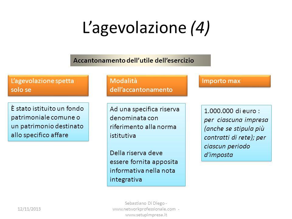 Lagevolazione (4) Accantonamento dellutile dellesercizio Lagevolazione spetta solo se È stato istituito un fondo patrimoniale comune o un patrimonio d