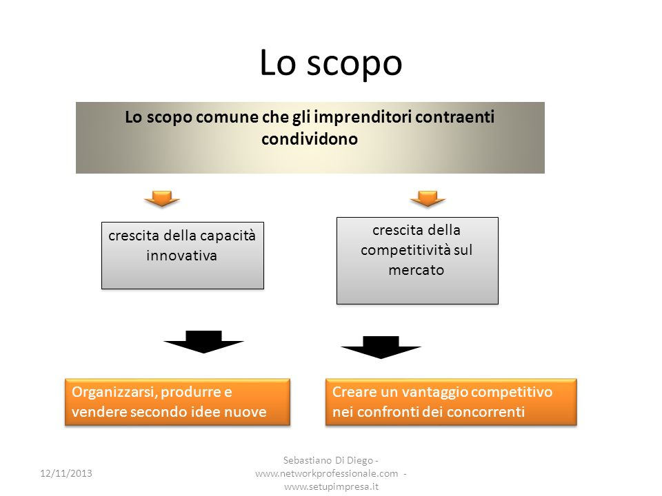 Lo scopo Lo scopo comune che gli imprenditori contraenti condividono crescita della capacità innovativa crescita della competitività sul mercato Organ