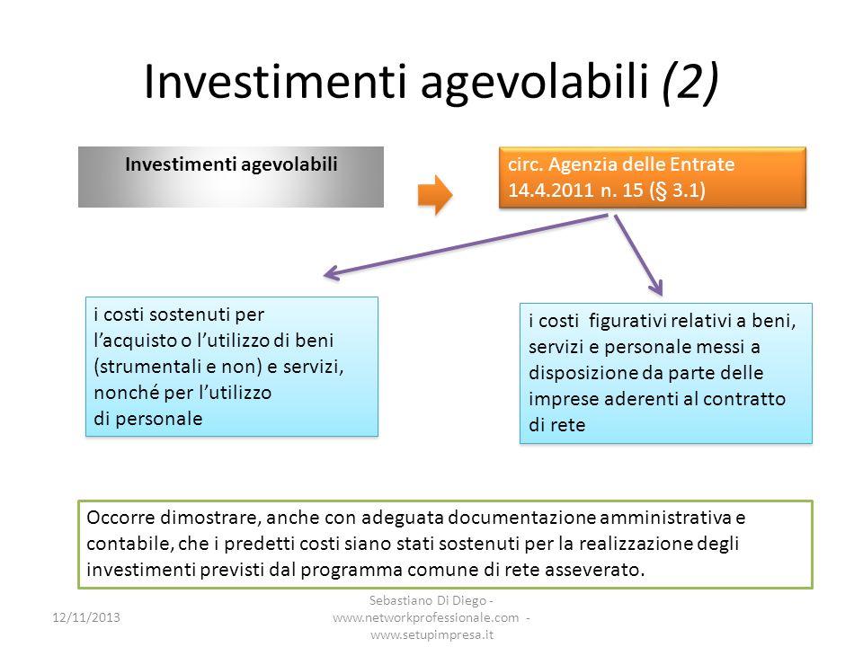 Investimenti agevolabili (2) Investimenti agevolabili circ. Agenzia delle Entrate 14.4.2011 n. 15 (§ 3.1) i costi sostenuti per lacquisto o lutilizzo