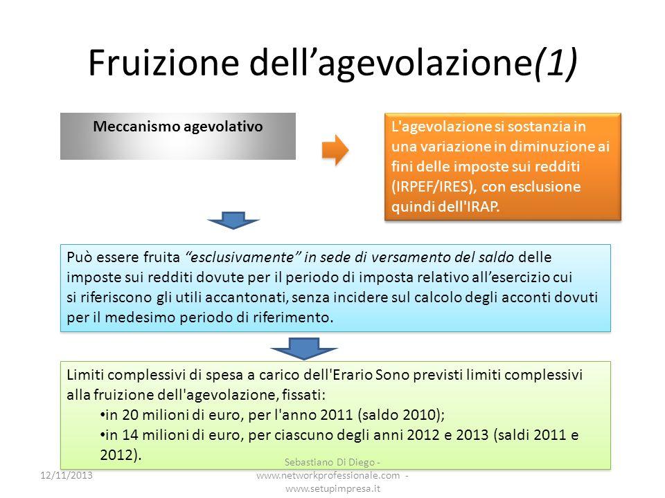 Fruizione dellagevolazione(1) Meccanismo agevolativo L'agevolazione si sostanzia in una variazione in diminuzione ai fini delle imposte sui redditi (I