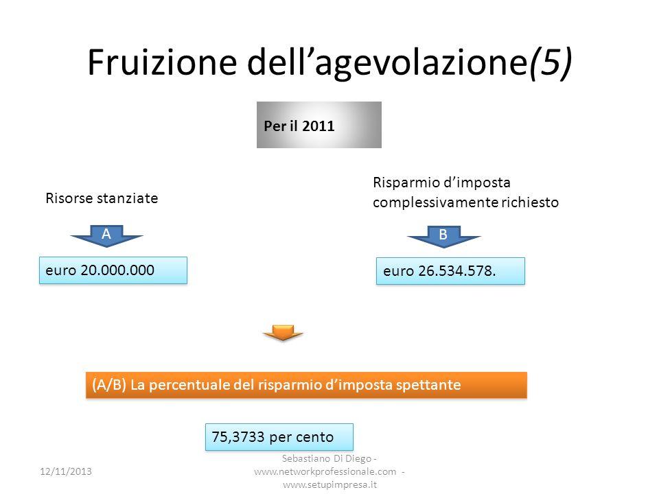 Fruizione dellagevolazione(5) Per il 2011 (A/B) La percentuale del risparmio dimposta spettante euro 26.534.578. B Risparmio dimposta complessivamente