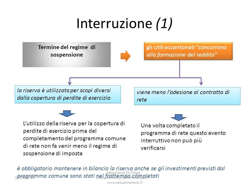 Interruzione (1) Termine del regime di sospensione gli utili accantonati concorrono alla formazione del reddito la riserva è utilizzata per scopi dive