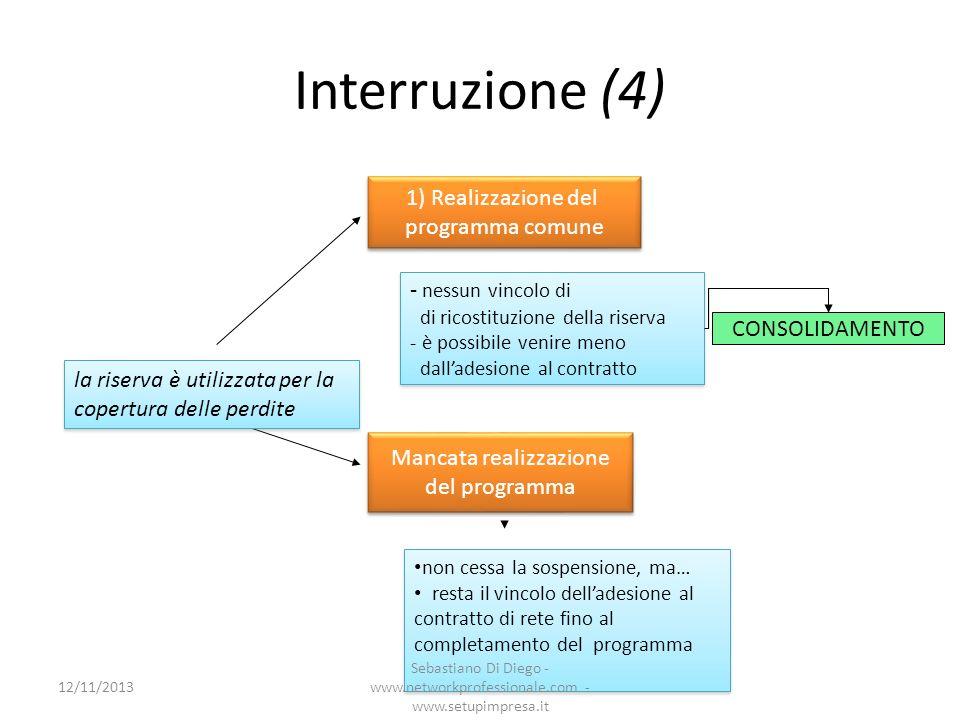 Interruzione (4) 1) Realizzazione del programma comune 1) Realizzazione del programma comune - nessun vincolo di di ricostituzione della riserva - è p