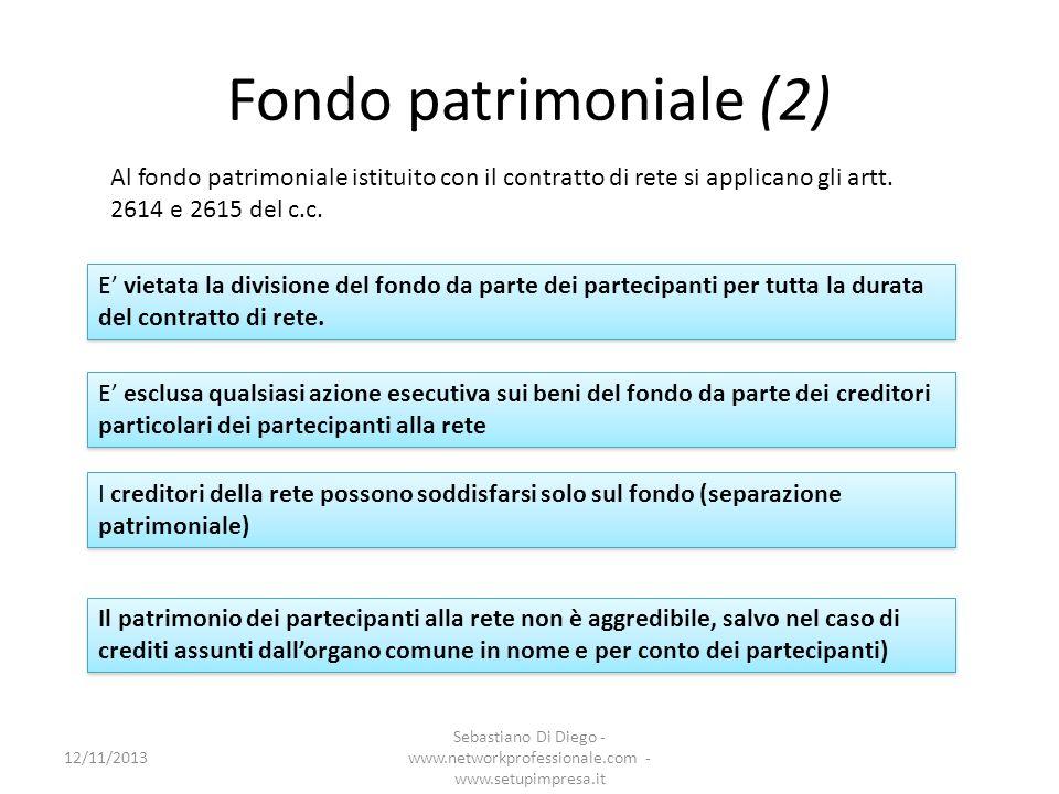 Fondo patrimoniale (2) Al fondo patrimoniale istituito con il contratto di rete si applicano gli artt. 2614 e 2615 del c.c. E vietata la divisione del