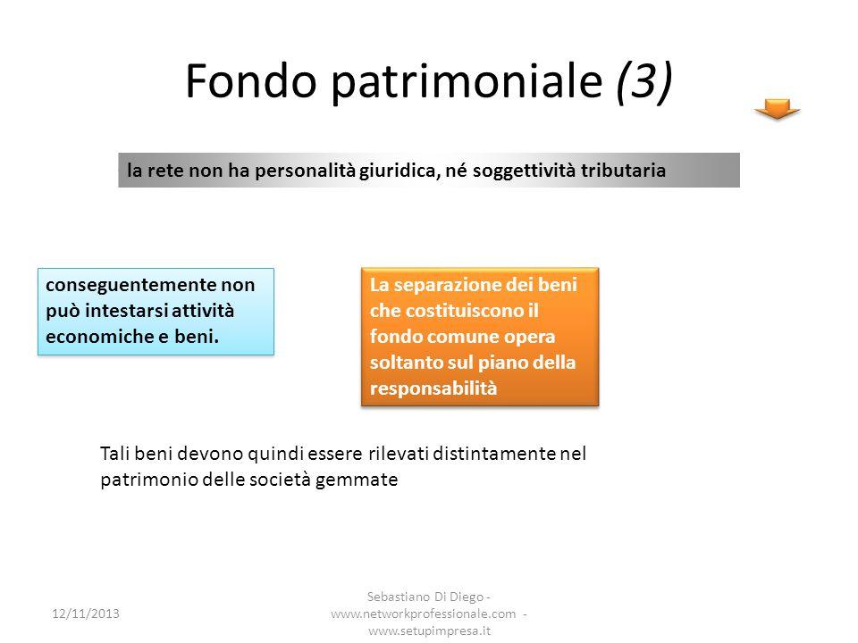 Fondo patrimoniale (3) la rete non ha personalità giuridica, né soggettività tributaria conseguentemente non può intestarsi attività economiche e beni