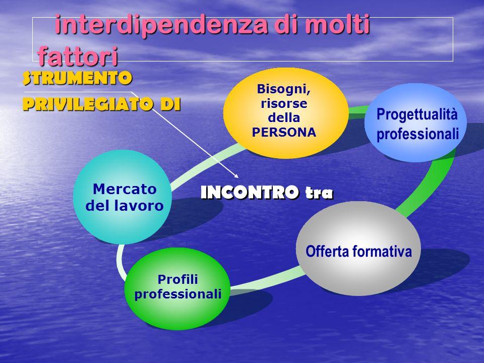 interdipendenza di molti fattori interdipendenza di molti fattori Mercato del lavoro Bisogni, risorse della PERSONA Progettualità professionali Offert