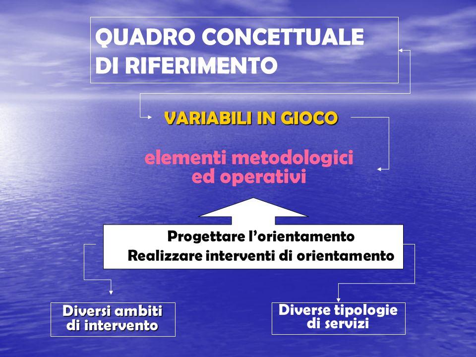 QUADRO CONCETTUALE DI RIFERIMENTO VARIABILI IN GIOCO elementi metodologici ed operativi Diversi ambiti di intervento Diverse tipologie di servizi Prog