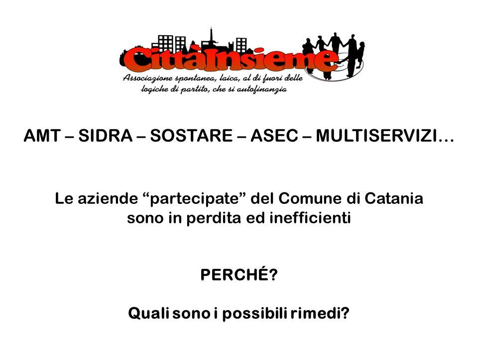 AMT – SIDRA – SOSTARE – ASEC – MULTISERVIZI… Le aziende partecipate del Comune di Catania sono in perdita ed inefficienti PERCHÉ? Quali sono i possibi