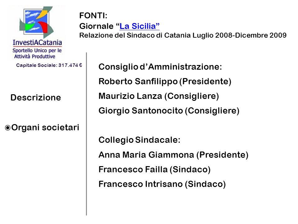 Descrizione Organi societari FONTI: Giornale La SiciliaLa Sicilia Relazione del Sindaco di Catania Luglio 2008-Dicembre 2009 Consiglio dAmministrazion