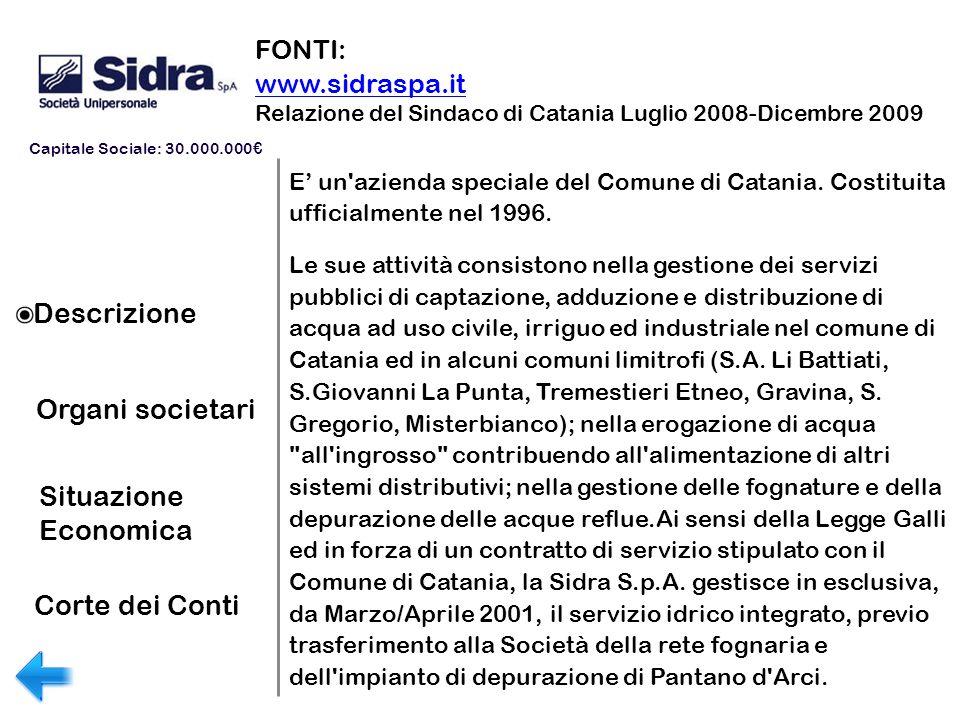 Descrizione Organi societari Situazione Economica FONTI: www.sidraspa.it Relazione del Sindaco di Catania Luglio 2008-Dicembre 2009 E un'azienda speci