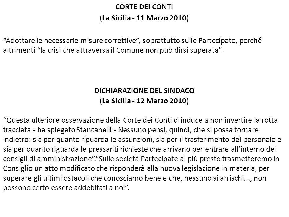 CORTE DEI CONTI (La Sicilia - 11 Marzo 2010) Adottare le necessarie misure correttive, soprattutto sulle Partecipate, perché altrimenti la crisi che a