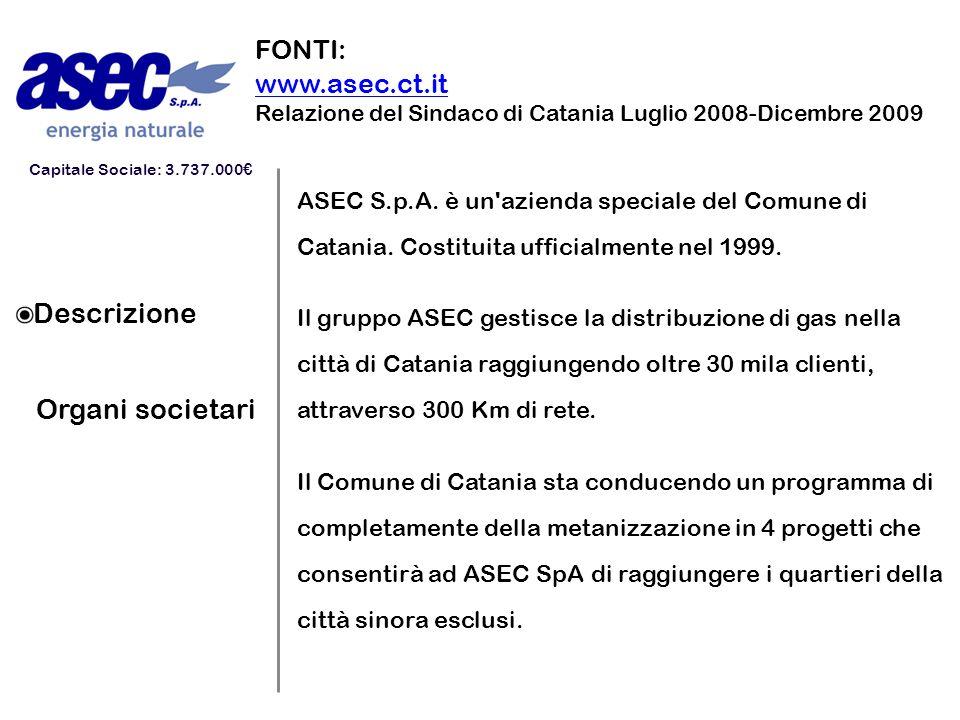 Descrizione Organi societari ASEC S.p.A. è un'azienda speciale del Comune di Catania. Costituita ufficialmente nel 1999. Il gruppo ASEC gestisce la di