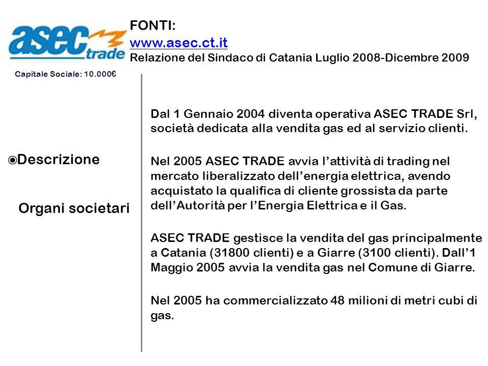Descrizione Organi societari Dal 1 Gennaio 2004 diventa operativa ASEC TRADE Srl, società dedicata alla vendita gas ed al servizio clienti. Nel 2005 A