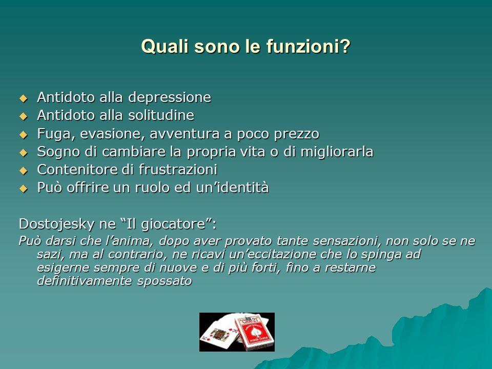 Quali sono le funzioni? Antidoto alla depressione Antidoto alla depressione Antidoto alla solitudine Antidoto alla solitudine Fuga, evasione, avventur