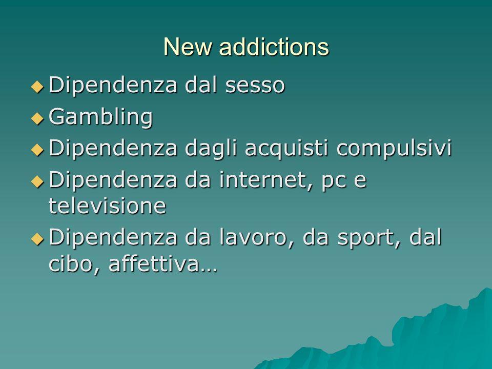New addictions Dipendenza dal sesso Dipendenza dal sesso Gambling Gambling Dipendenza dagli acquisti compulsivi Dipendenza dagli acquisti compulsivi D