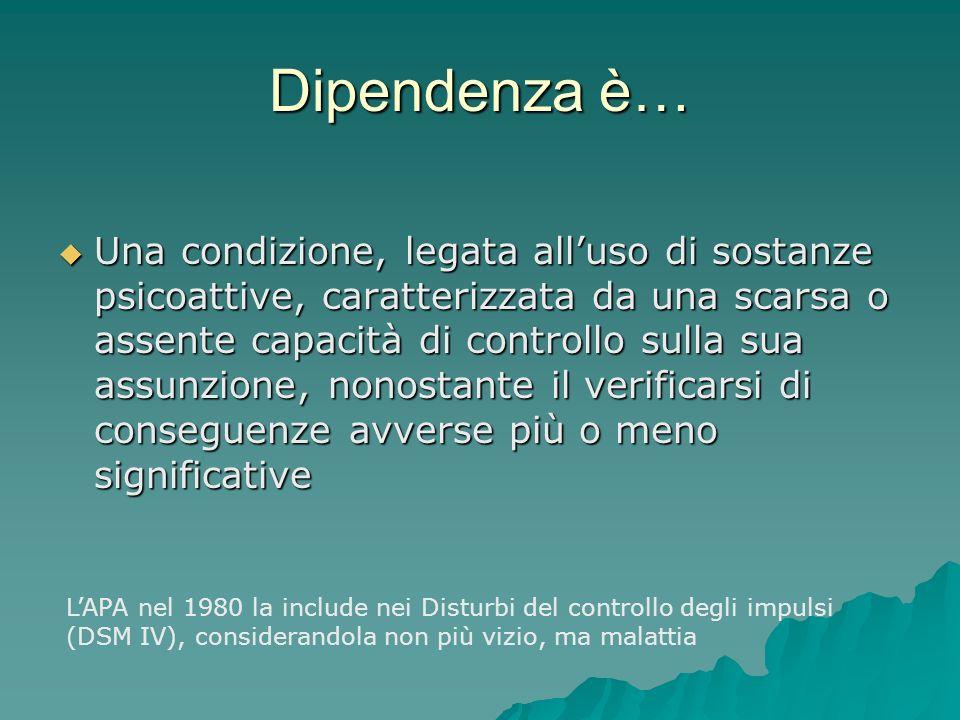 Dipendenza è… Una condizione, legata alluso di sostanze psicoattive, caratterizzata da una scarsa o assente capacità di controllo sulla sua assunzione