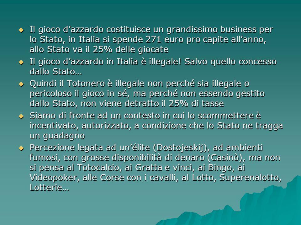 Il gioco dazzardo costituisce un grandissimo business per lo Stato, in Italia si spende 271 euro pro capite allanno, allo Stato va il 25% delle giocat