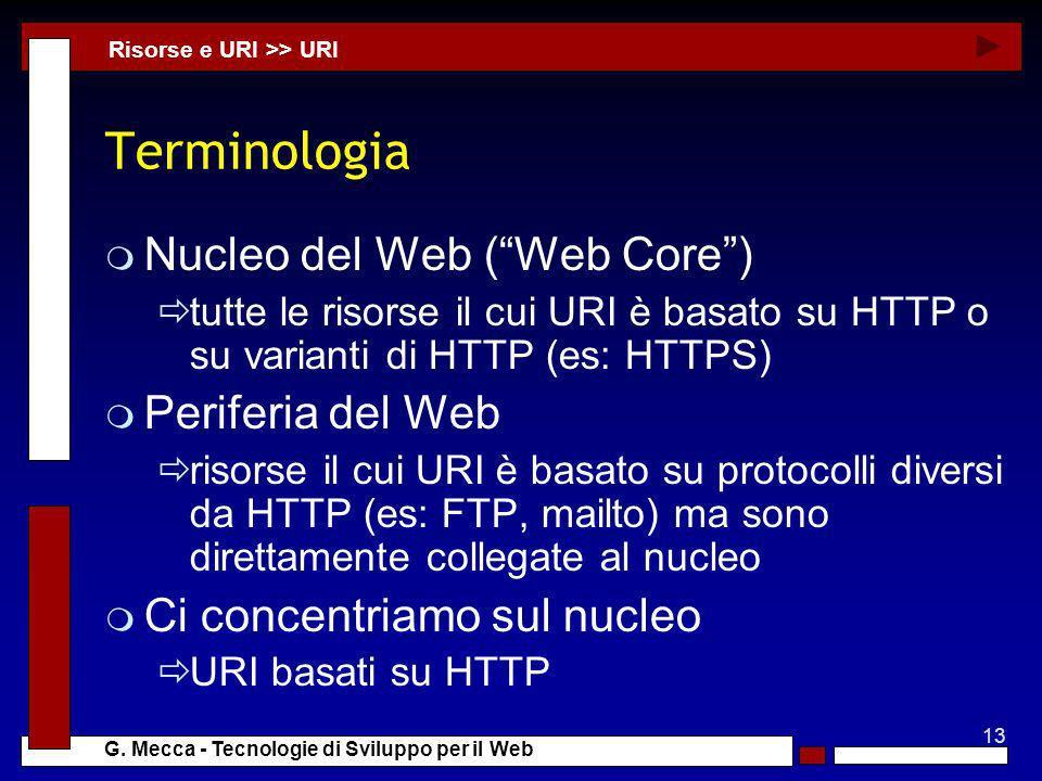 13 G. Mecca - Tecnologie di Sviluppo per il Web Terminologia m Nucleo del Web (Web Core) tutte le risorse il cui URI è basato su HTTP o su varianti di