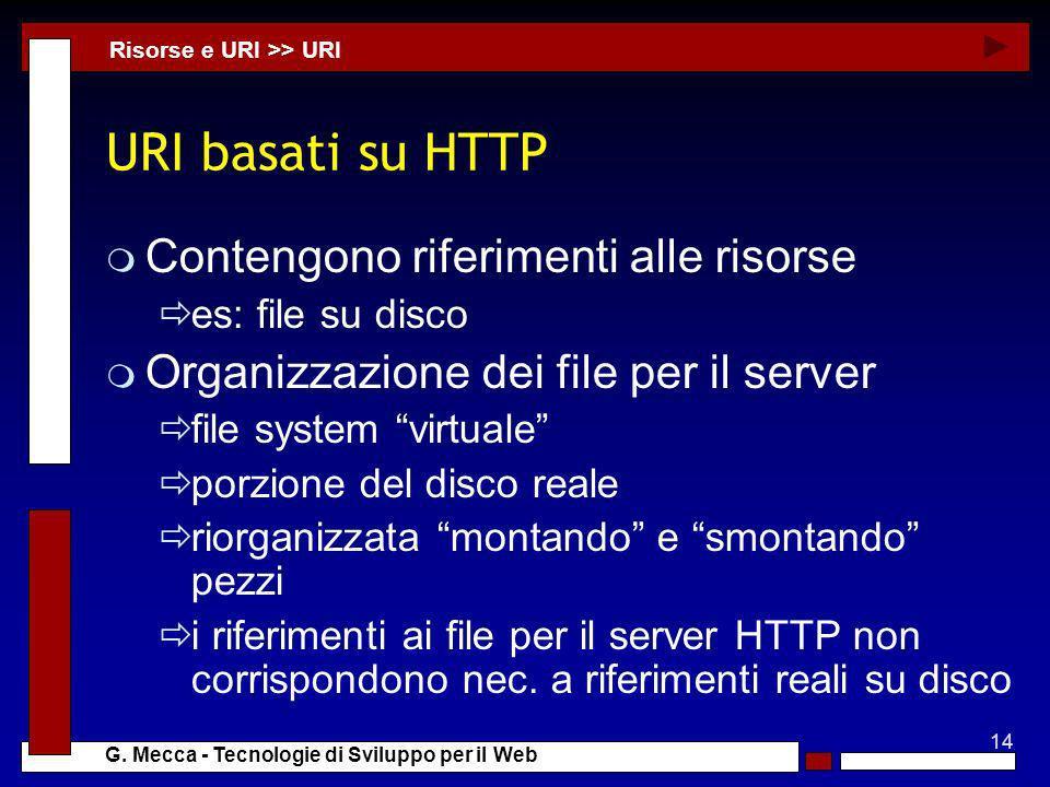 14 G. Mecca - Tecnologie di Sviluppo per il Web URI basati su HTTP m Contengono riferimenti alle risorse es: file su disco m Organizzazione dei file p