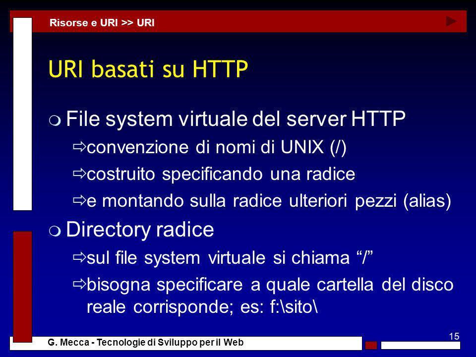 15 G. Mecca - Tecnologie di Sviluppo per il Web URI basati su HTTP m File system virtuale del server HTTP convenzione di nomi di UNIX (/) costruito sp