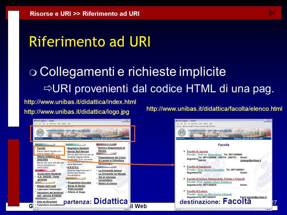 27 G. Mecca - Tecnologie di Sviluppo per il Web Riferimento ad URI m Collegamenti e richieste implicite URI provenienti dal codice HTML di una pag. Ri