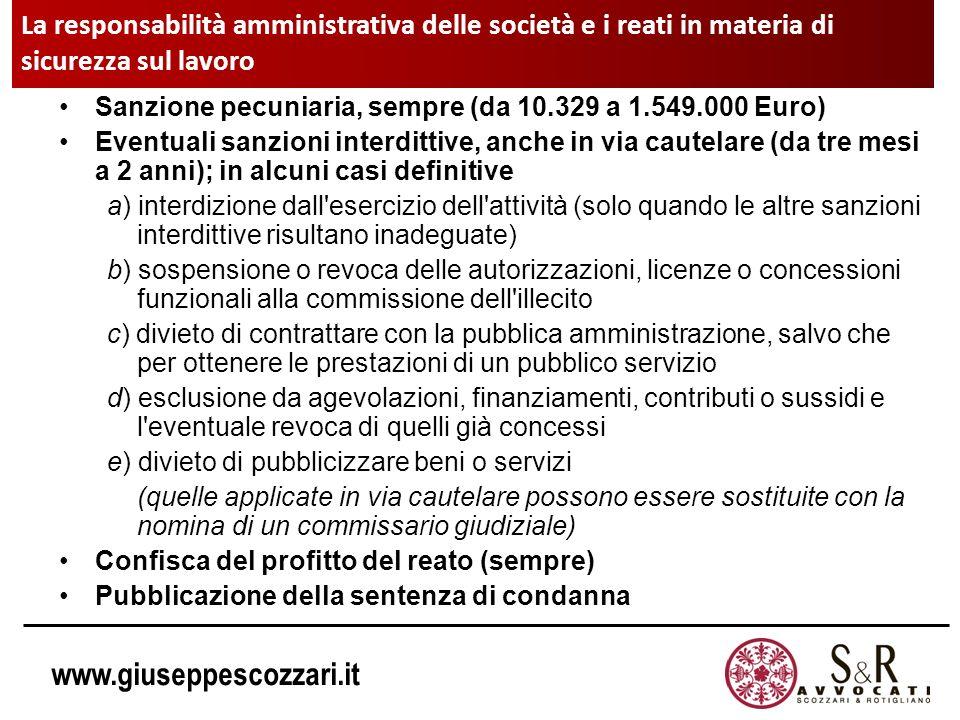 www.giuseppescozzari.it Sanzione pecuniaria, sempre (da 10.329 a 1.549.000 Euro) Eventuali sanzioni interdittive, anche in via cautelare (da tre mesi
