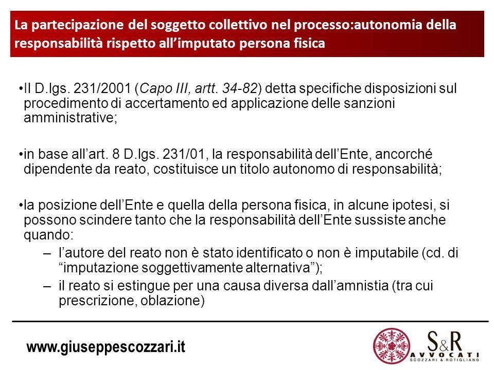 www.giuseppescozzari.it La partecipazione del soggetto collettivo nel processo:autonomia della responsabilità rispetto allimputato persona fisica Il D