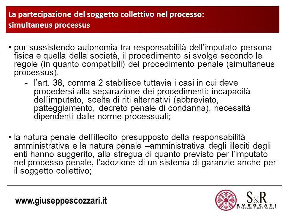 www.giuseppescozzari.it La partecipazione del soggetto collettivo nel processo: simultaneus processus pur sussistendo autonomia tra responsabilità del