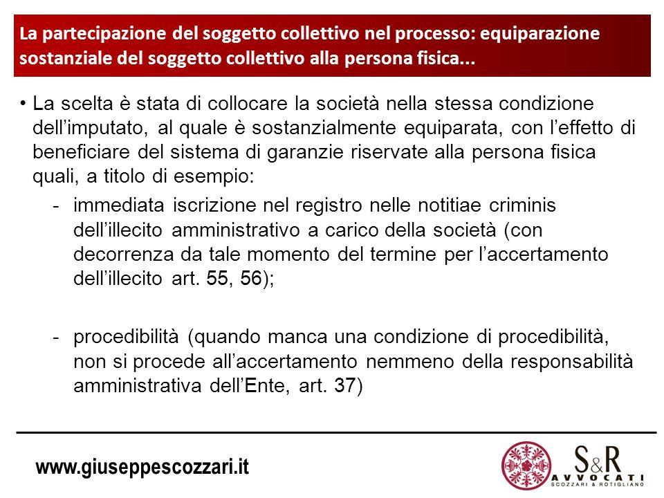 www.giuseppescozzari.it La partecipazione del soggetto collettivo nel processo: equiparazione sostanziale del soggetto collettivo alla persona fisica.