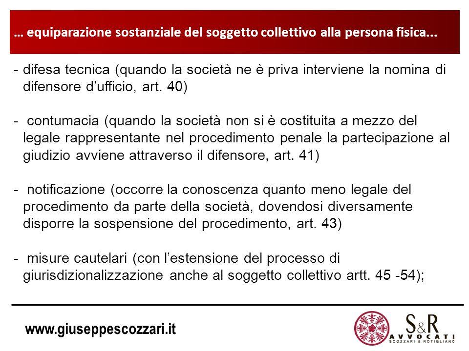 www.giuseppescozzari.it … equiparazione sostanziale del soggetto collettivo alla persona fisica... -difesa tecnica (quando la società ne è priva inter