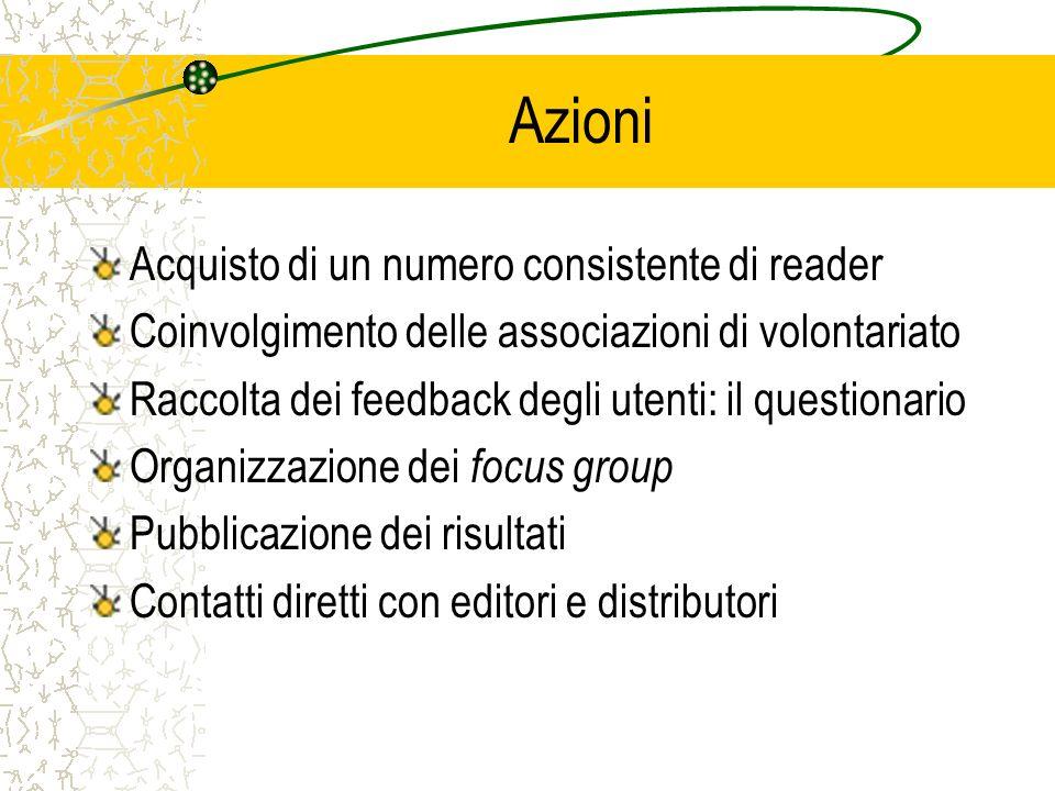 Azioni Acquisto di un numero consistente di reader Coinvolgimento delle associazioni di volontariato Raccolta dei feedback degli utenti: il questionar