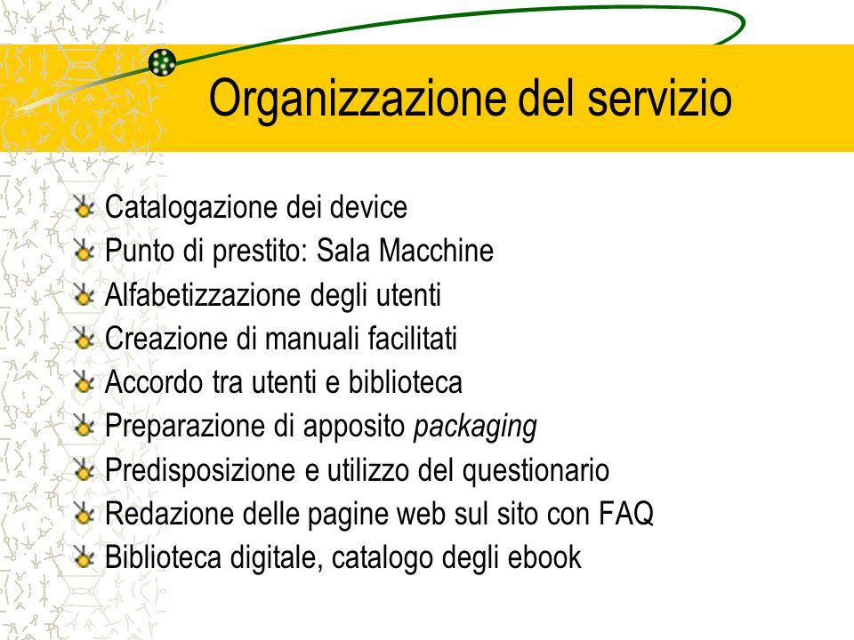 Organizzazione del servizio Catalogazione dei device Punto di prestito: Sala Macchine Alfabetizzazione degli utenti Creazione di manuali facilitati Ac