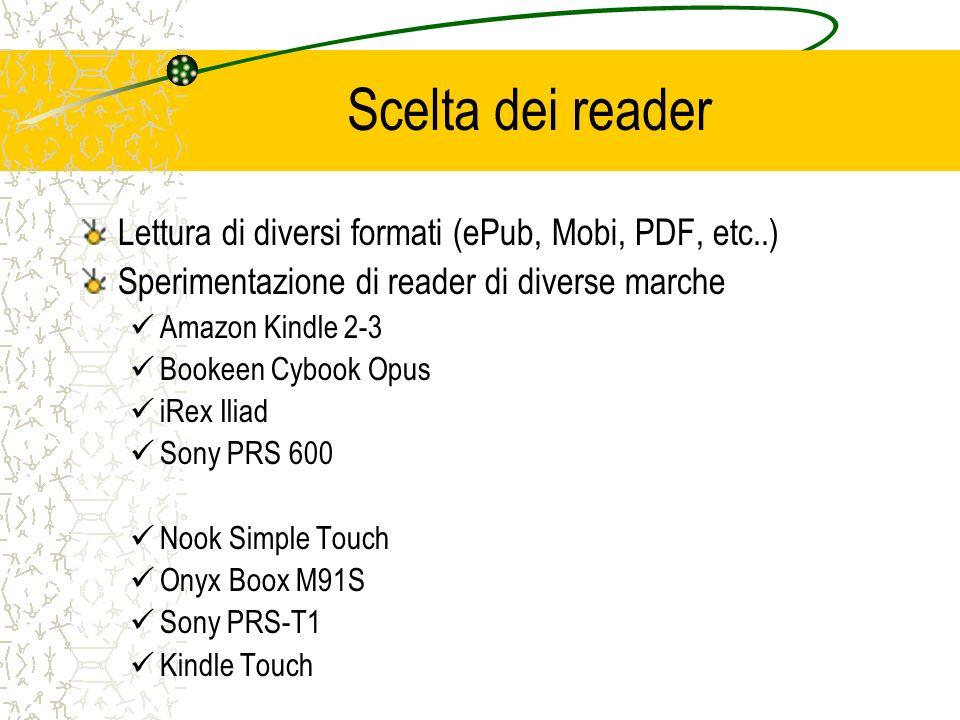 Scelta dei reader Lettura di diversi formati (ePub, Mobi, PDF, etc..) Sperimentazione di reader di diverse marche Amazon Kindle 2-3 Bookeen Cybook Opu
