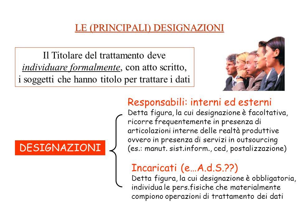 LE (PRINCIPALI) DESIGNAZIONI Il Titolare del trattamento deve individuare formalmente, con atto scritto, i soggetti che hanno titolo per trattare i da