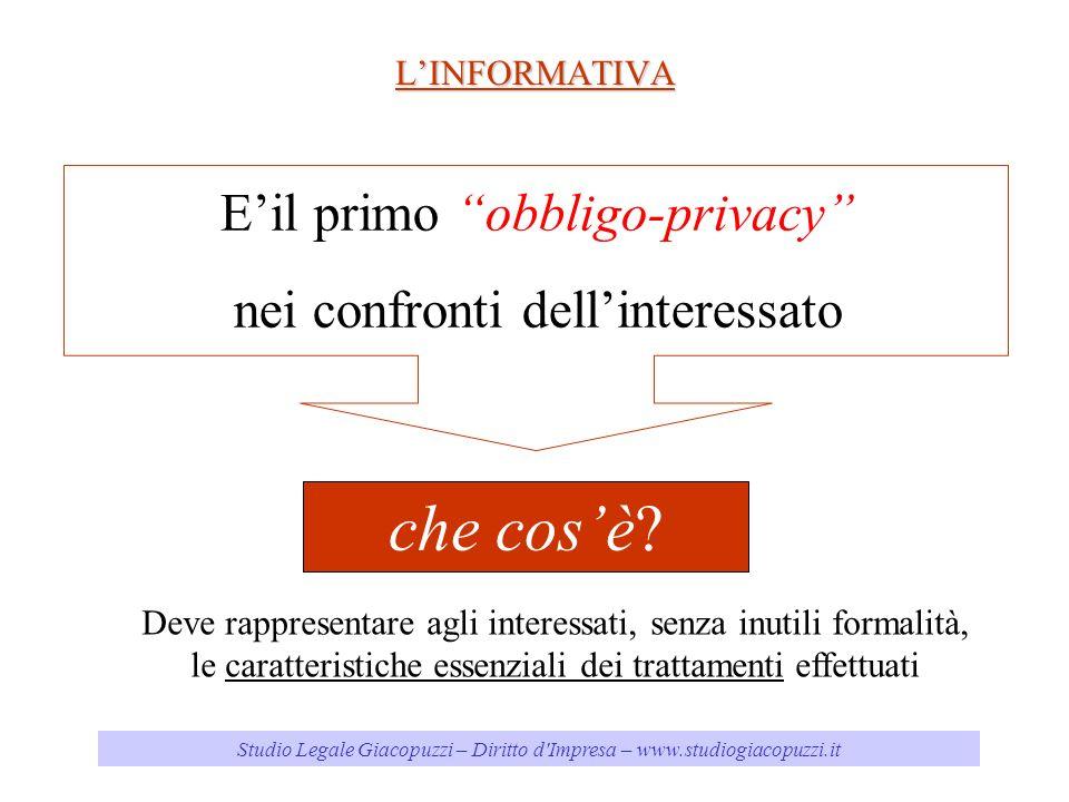 Studio Legale Giacopuzzi – Diritto d Impresa – www.studiogiacopuzzi.it LINFORMATIVA Eil primo obbligo-privacy nei confronti dellinteressato che cosè.